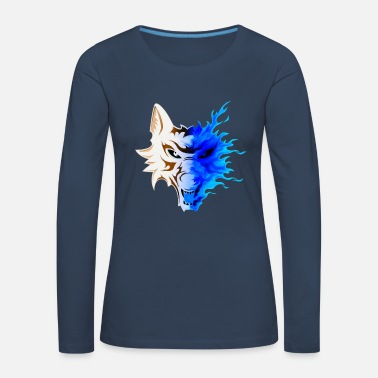 Skull And Crossbones WOLF IN FLAMES - Women's Premium Longsleeve Shirt