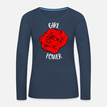 Girl Power Rose Cool Woman Feminist Movement Gift - Women's Premium Longsleeve Shirt