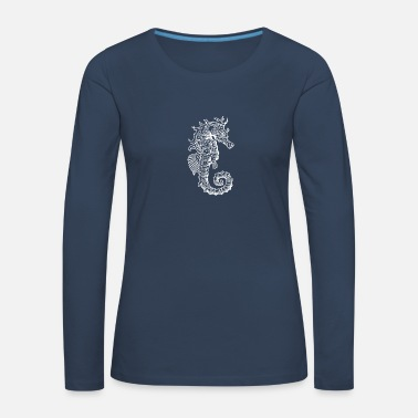 Squid Seahorse right white - Women's Premium Longsleeve Shirt
