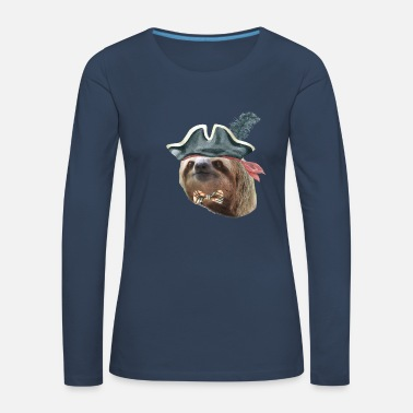 Hilarious Sloth Pirate Hat Plaid bow tie Sloths In Clothes - Women's Premium Longsleeve Shirt