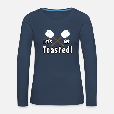 Clock Let's Get Toasted Marshmallow Camping Design - Women's Premium Longsleeve Shirt