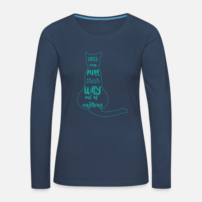 Kitten Long Sleeve Shirts - Cats: Cats can purr Their way out of anything! - Women's Premium Longsleeve Shirt navy