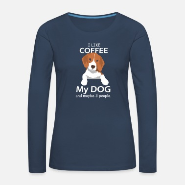 Coffee Funny coffee cafe dog beagle cup office gift - Women's Premium Longsleeve Shirt