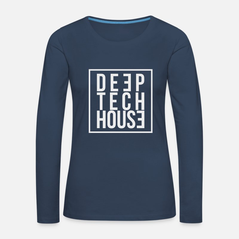 House Music Long Sleeve Shirts - Deep Tech House by HouseMixRoom RadioShow - Women's Premium Longsleeve Shirt navy