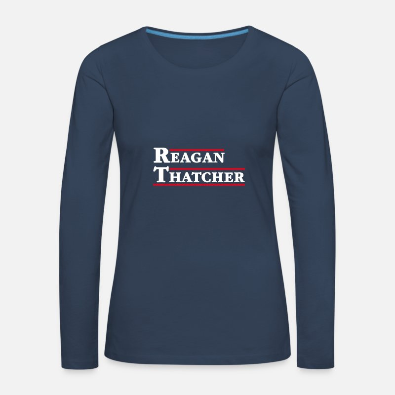 Usa Long Sleeve Shirts - Reagan & Thatcher - Women's Premium Longsleeve Shirt navy
