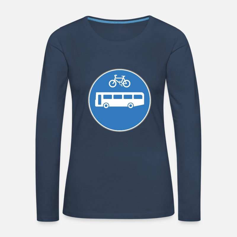 Bus Long Sleeve Shirts - Road sign bus and bicycle - Women's Premium Longsleeve Shirt navy