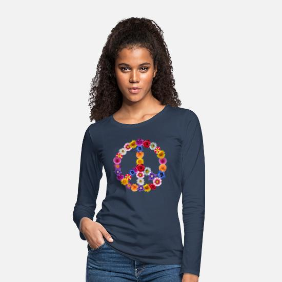 Peace Long sleeve shirts - Peace Love Hippi 60s 70s flowers peace - Women's Premium Longsleeve Shirt navy