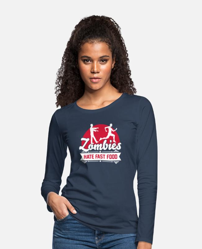 Sport Long-Sleeved Shirts - Zombies hate fast food - Zombie - Humor - Jogger - Women's Premium Longsleeve Shirt navy