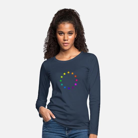 Brexit Long Sleeve Shirts - EU stars in rainbow colors Europe love LGBT - Women's Premium Longsleeve Shirt navy