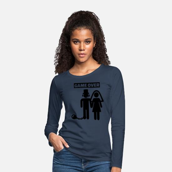 Bachelor Party Long sleeve shirts - Gamer gets married - Women's Premium Longsleeve Shirt navy