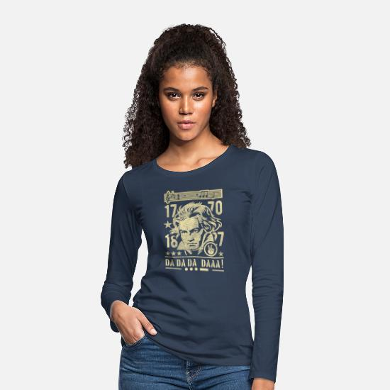 German Long sleeve shirts - Beethoven, Sepia - Women's Premium Longsleeve Shirt navy