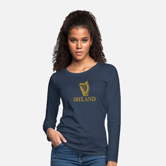 Galway Long sleeve shirts - Ireland Harp product | Ireland Forever / Irish - Women's Premium Longsleeve Shirt navy