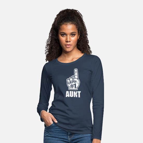 Finger Long sleeve shirts - Best aunt - best aunt of niece and nephew - Women's Premium Longsleeve Shirt navy