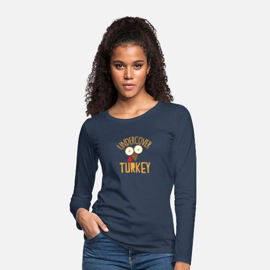 Run Long sleeve shirts - Undercover turkey with surprised turkey face - Women's Premium Longsleeve Shirt navy