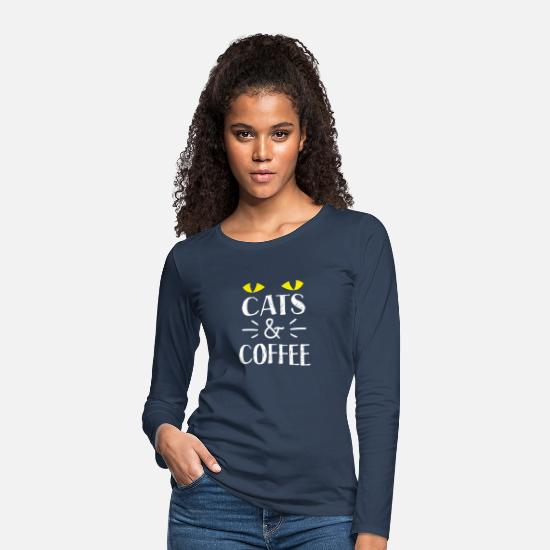 Shelter Long Sleeve Shirts - Cats and coffee with cute kitty cat eyes - Women's Premium Longsleeve Shirt navy