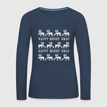 Happy White Deers Merry Xmas - T-shirt manches longues Premium Femme