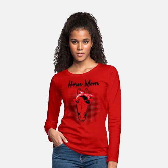 Slogan Manches longues - Cheval - cheval MOM MP  - T-shirt manches longues premium Femme rouge