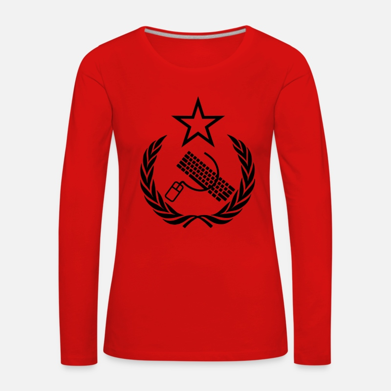 Communist Long Sleeve Shirts - The keyboard and mouse Communist - Geek Flag - Women's Premium Longsleeve Shirt red