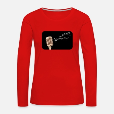 Rock Music Microphone silhouette multicolored notes - Women's Premium Longsleeve Shirt