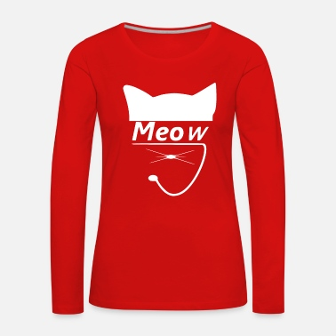 Meow miaou chat queue féline - T-shirt manches longues Premium Femme