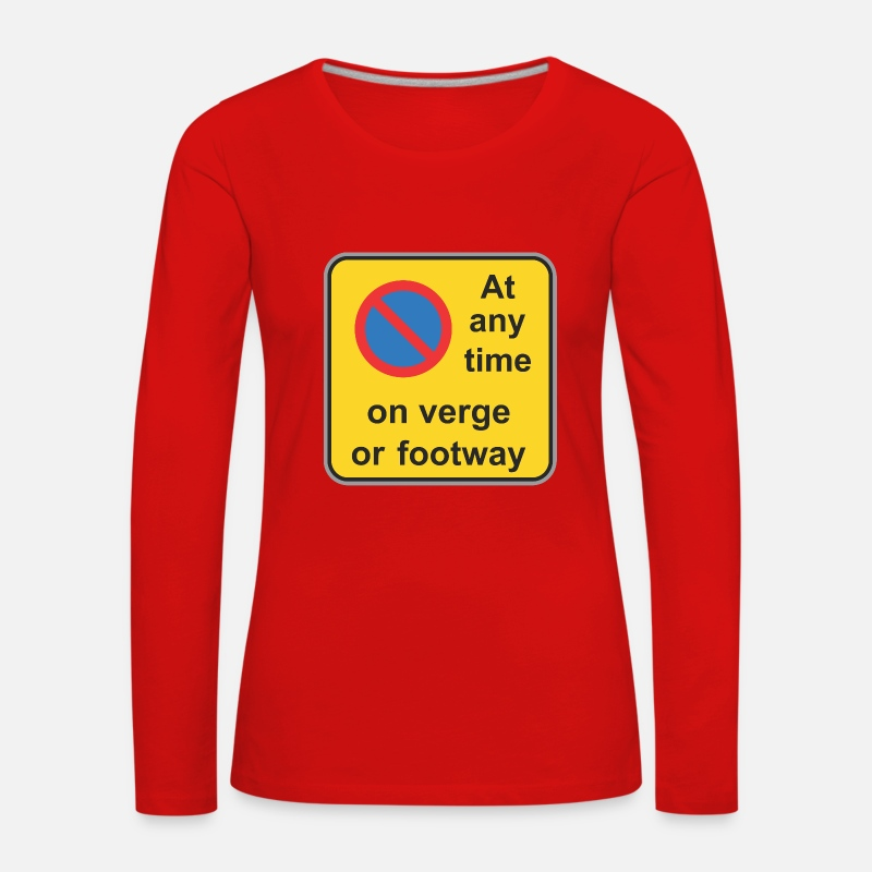 Road Construction Long Sleeve Shirts - Road sign at any time on verge or footway - Women's Premium Longsleeve Shirt red