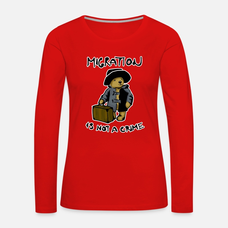 Crime Long Sleeve Shirts - Migration Is Not A Crime - Women's Premium Longsleeve Shirt red