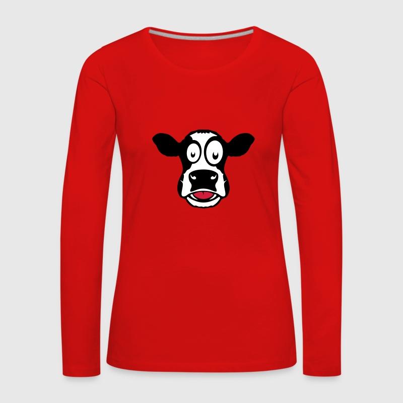 vache dessin tire langue 104 t shirt manches longues premium femme - Langue Dessin