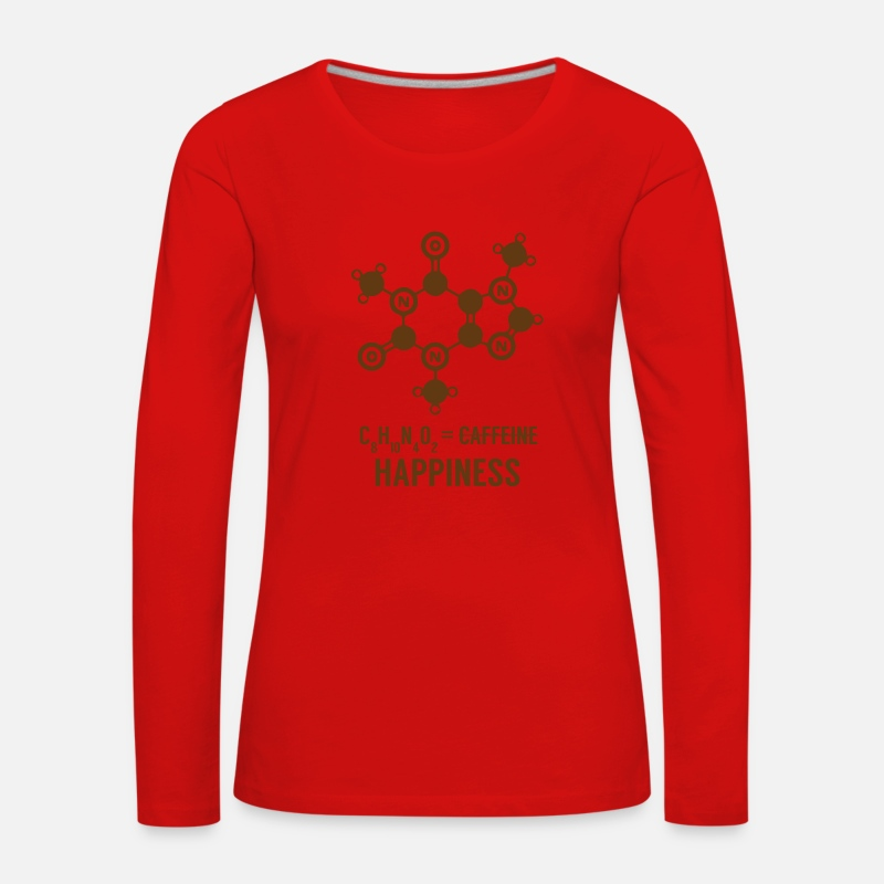 Chemistry Long Sleeve Shirts - Periodic table: C8 H10 N4 O2 = Happiness - Women's Premium Longsleeve Shirt red