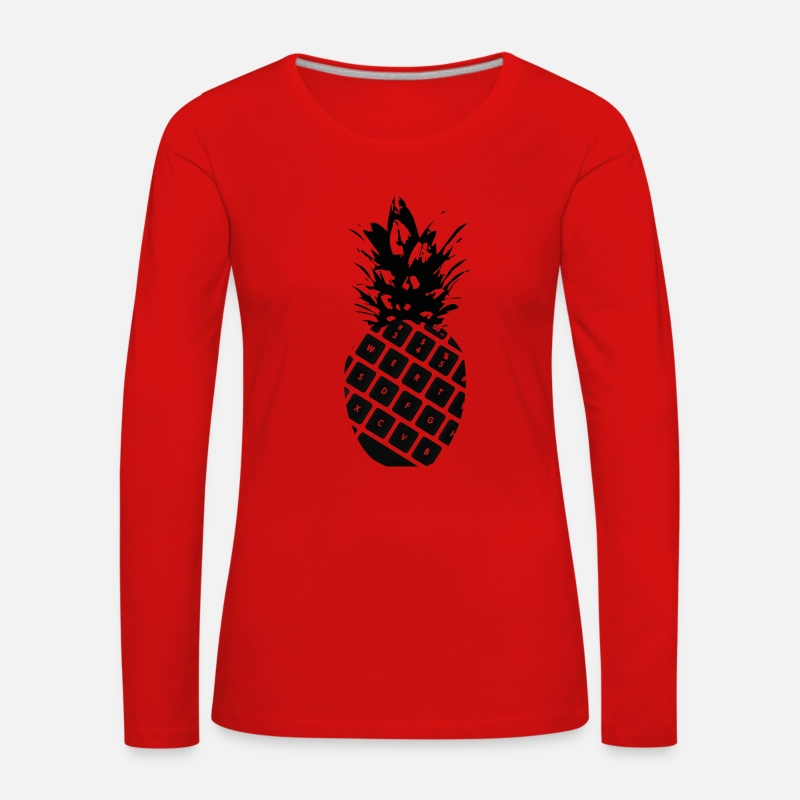 Ombre Manches longues - ananas Clavier - T-shirt manches longues premium Femme rouge