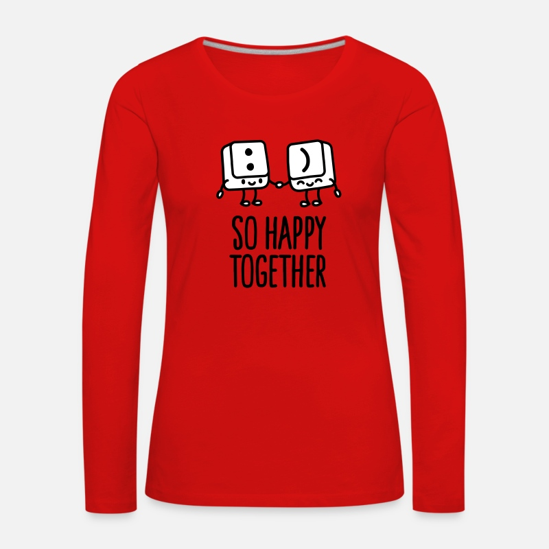 Carino Maglie a manica lunga - Keyboard keys smiley - So happy together - T-Shirt a manica lunga premium da donna rosso