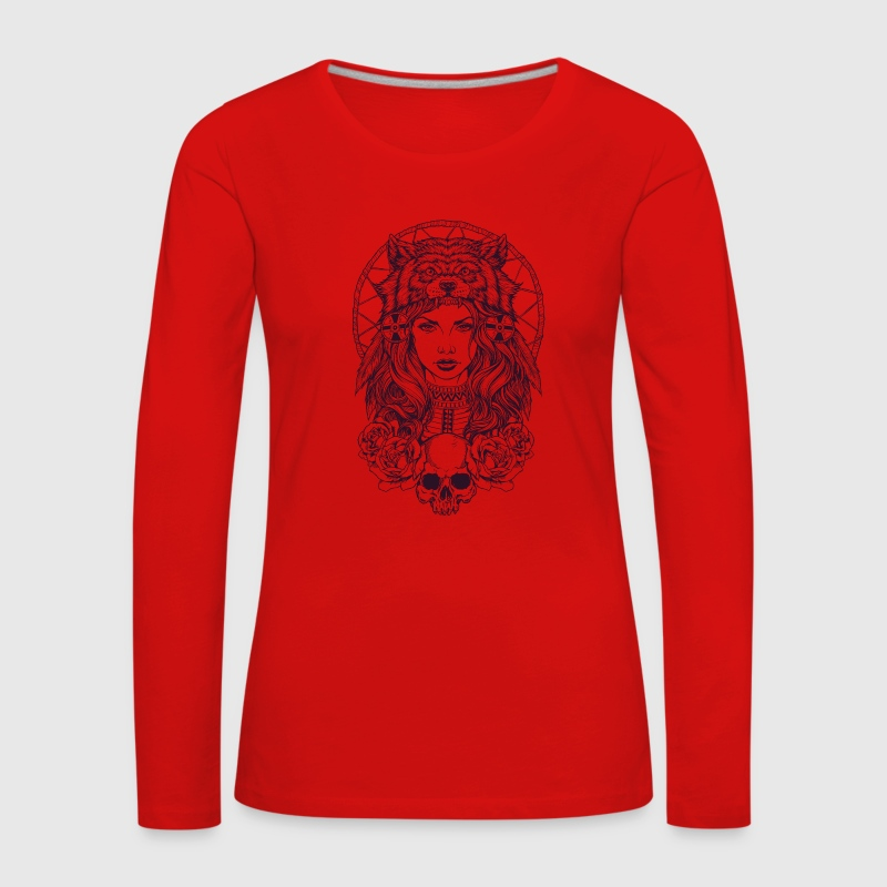 Native American Girl with Wolf Headdress - Women's Premium Longsleeve Shirt