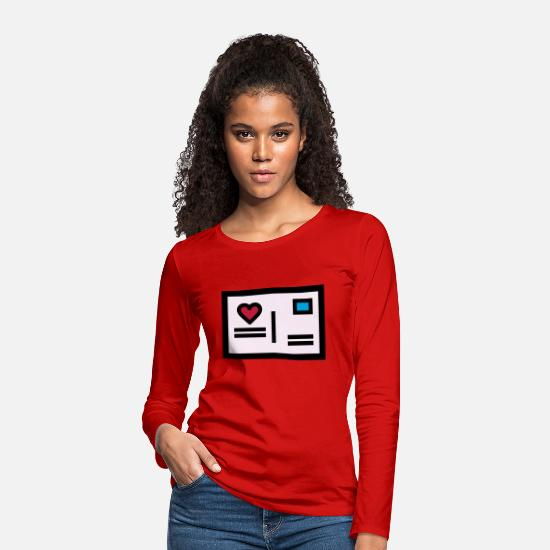 Engagement Long Sleeve Shirts - Love letter Postcard for Valentine's Day - Women's Premium Longsleeve Shirt red