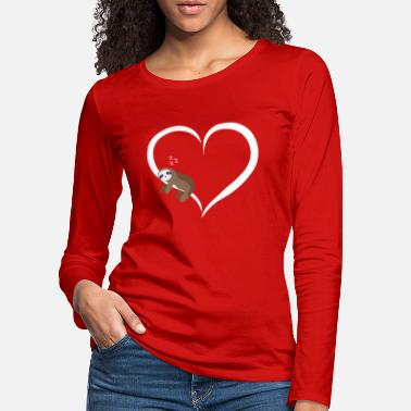 Sloth sleeps white heart valentine gift - Women's Premium Longsleeve Shirt