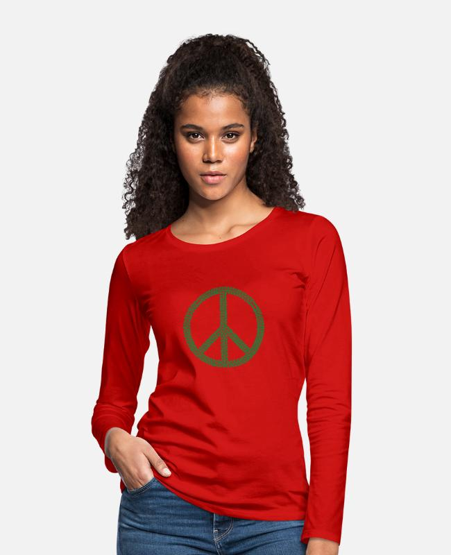 I Love Long-Sleeved Shirts - Peace Weed - Women's Premium Longsleeve Shirt red