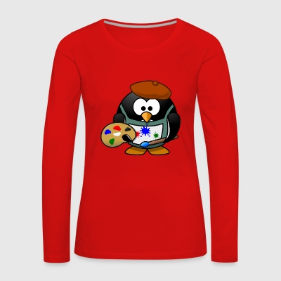 Penguin painter - Women's Premium Longsleeve Shirt