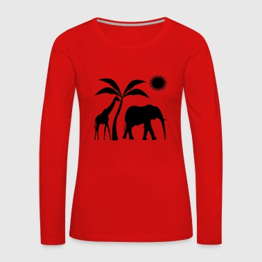 africa elephant and girafe t-shirt - Women's Premium Longsleeve Shirt