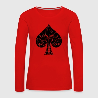 Pik Karte Symbol Tribal Poker Ass Hold´em - Frauen Premium Langarmshirt