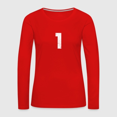 1- Grunge, number 1, number one, 1, one - Women's Premium Longsleeve Shirt