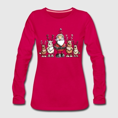 Merry Christmas Santa Claus with reindeer - Women's Premium Longsleeve Shirt