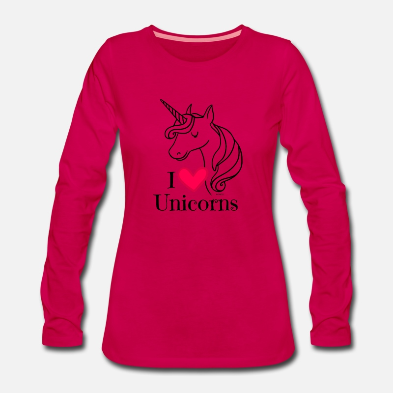 Keep Calm Long Sleeve Shirts - I Love Unicorns T Shirt - Heart Tee in Black - Women's Premium Longsleeve Shirt dark pink