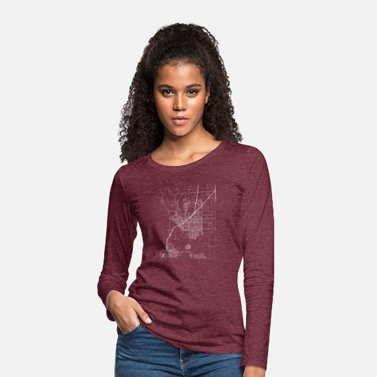 Cool Long Sleeve Shirts - Minimal Vacaville city map and streets - Women's Premium Longsleeve Shirt heather burgundy