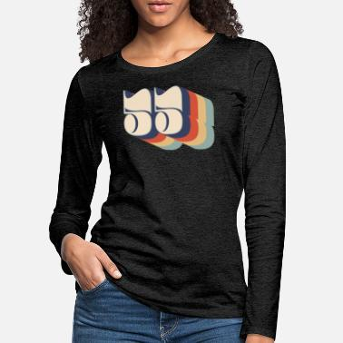 Numbers Retro 55 distressed number birthday - Women's Premium Longsleeve Shirt