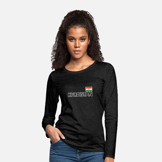 Patriot Long sleeve shirts - kurdistan - Women's Premium Longsleeve Shirt charcoal grey