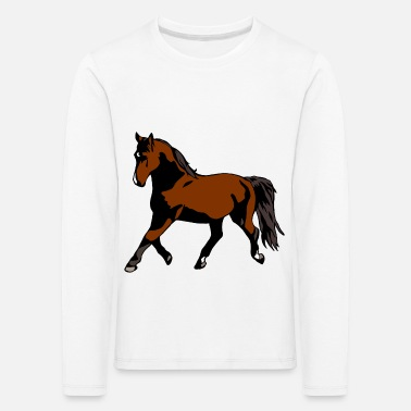 Pony Horse trot warmblood thoroughbred gift brown cool - Kids' Premium Longsleeve Shirt