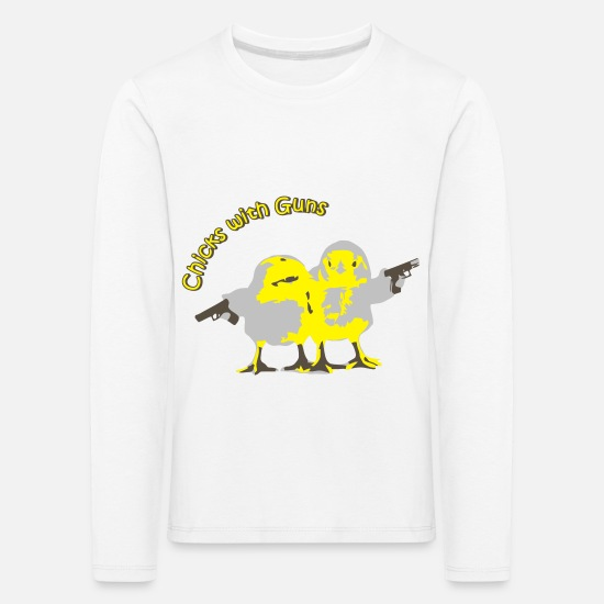 Mädchen Langarmshirts - Chicks with Guns - Kinder Premium Langarmshirt Weiß
