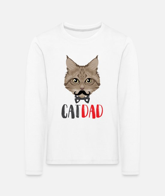 Gray Cat Long-Sleeved Shirts - Cat dad / cats dad father - Kids' Premium Longsleeve Shirt white