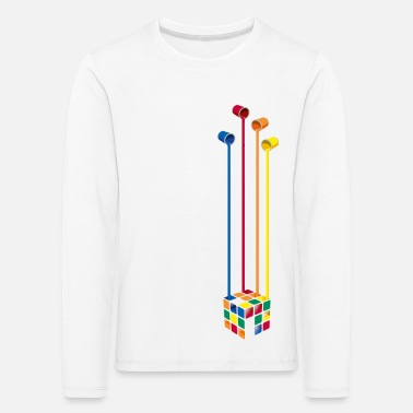 Cube Rubik's Cube Colourful Paint Buckets - Kids' Premium Longsleeve Shirt