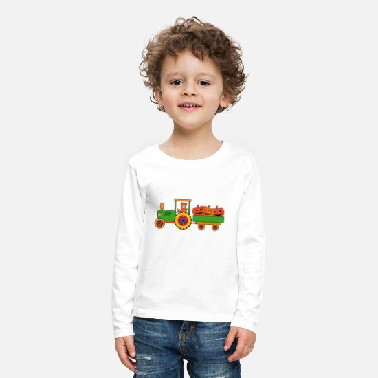 Halloween Long sleeve shirts - Halloween tractor with teddy bears - Kids' Premium Longsleeve Shirt white