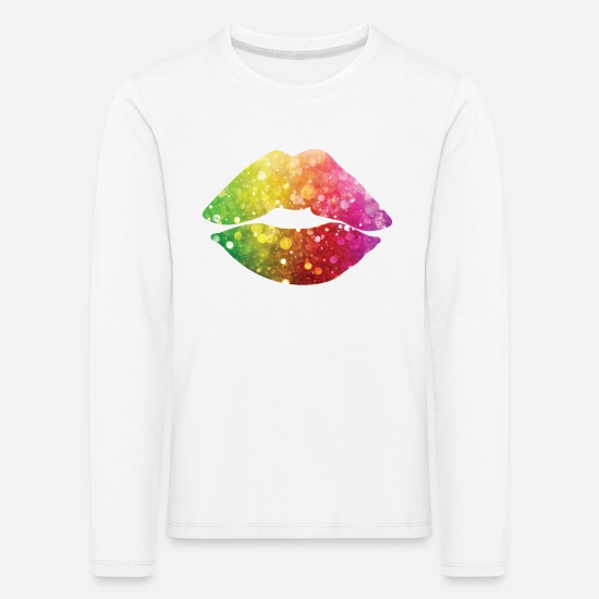 Birthday Long Sleeve Shirts - Colorful Lips / Colorful Lips - Kids' Premium Longsleeve Shirt white