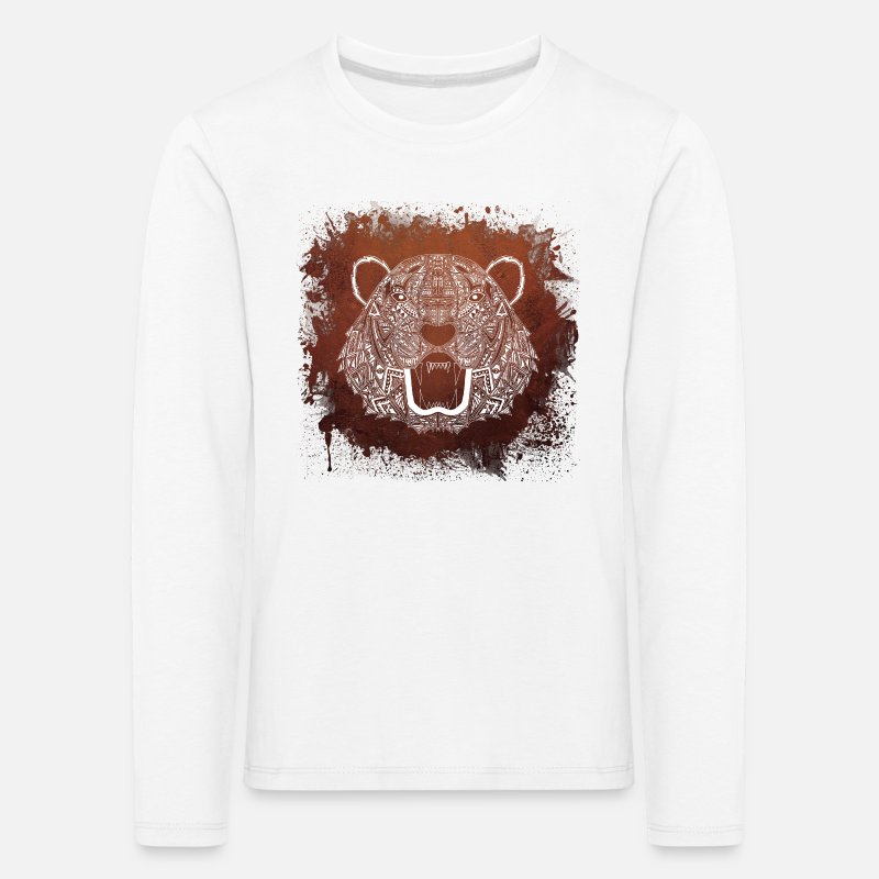 White Tiger Tier Mandala Kinder Premium Langarmshirt Spreadshirt